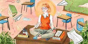 illustration of teacher at desk