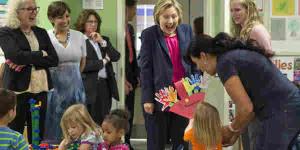 Clinton in a PreK class