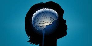 silhouette with brain illustration