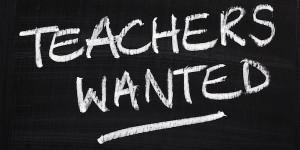 """""""teachers wanted"""" written on a chalkboard"""