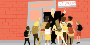 illustration of adult telling students there is no vacancy in the school