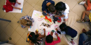 Jewish and Arab pre-schoolers draw together at the first Bilingual School in Jerusalem