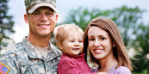 Military family- mother, father, and young child