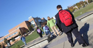 Students with disabilities walking on college campus