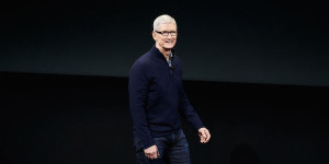 "Apple CEO Tim Cook speaks at an event highlighting accessibility options that are incorporated in the company's devices. ""We believe that technology should be accessible to everyone,"" Cook said. (Apple)"
