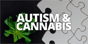 autism and cannabis with puzzle pieces in the background
