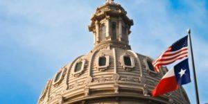 texas flag and building