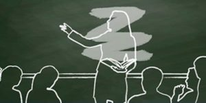 drawing of teacher who is erased with students on a chalkboard
