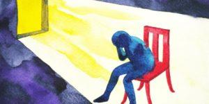 cartoon of blue sad student