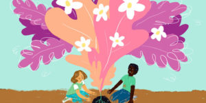 two kids sitting under a pink tree with flowers