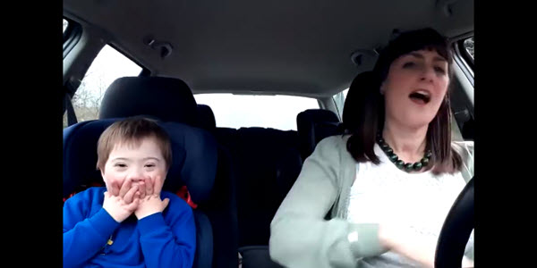 son and mom in car