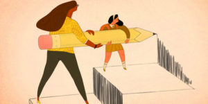 cartoon of female adult helping a child hold a giant pencil