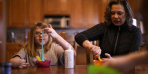 mom with daugther with cerebral palsy