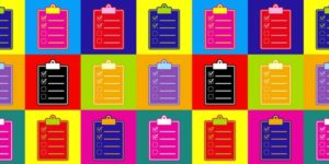 colorful clipboards