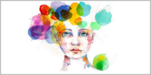 drawing of a child with multicolored circles around